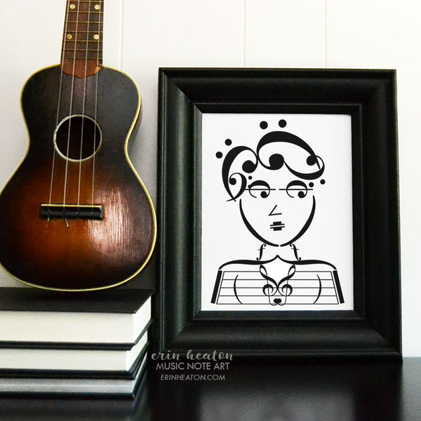 Beatnik Chick Music Note Art Print | erinheaton.com