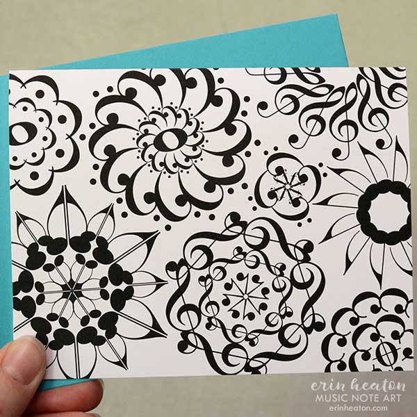 Flower Music Note Cards – Set of 8 | erinheaton.com