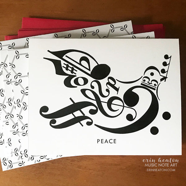 Peace Dove Music Note Holiday Card | erinheaton.com