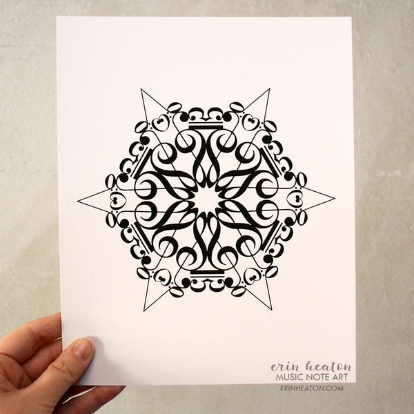 Snowflake #5 Music Note Holiday Art Print | erinheaton.com