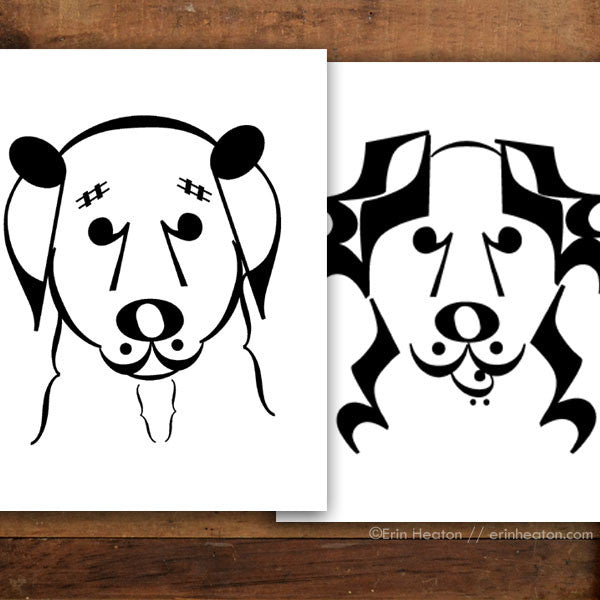 "Dog Series: ""Belle"" & ""Banjo"" Music Note Art Print Set 