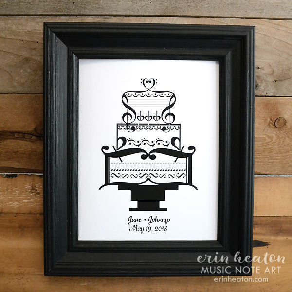 Personalized Wedding Cake Music Art Print | erinheaton.com