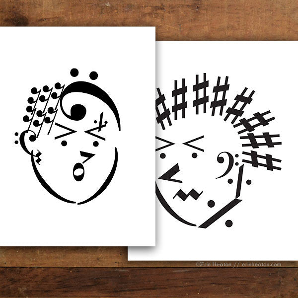Punk Rock Couple Music Art Print Set