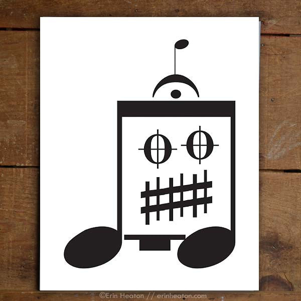 Eighth Note Robot Music Art Print | erinheaton.com