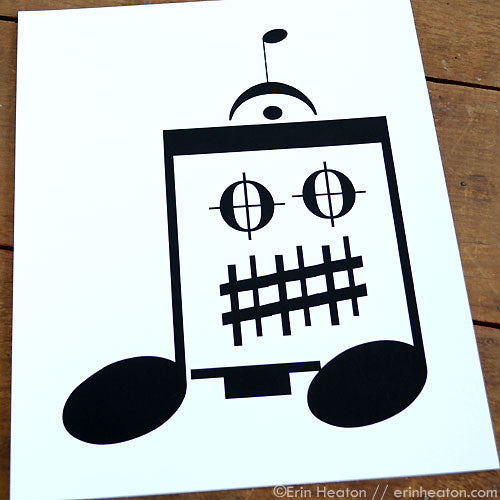 Eighth Note Robot Music Art Print