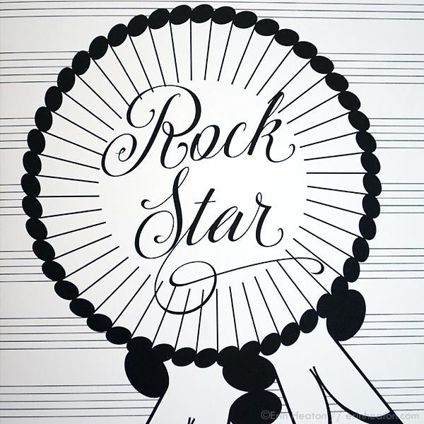 Rock Star Award Ribbon Music Note Card