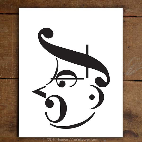 Shouting Man Music Note Art Print