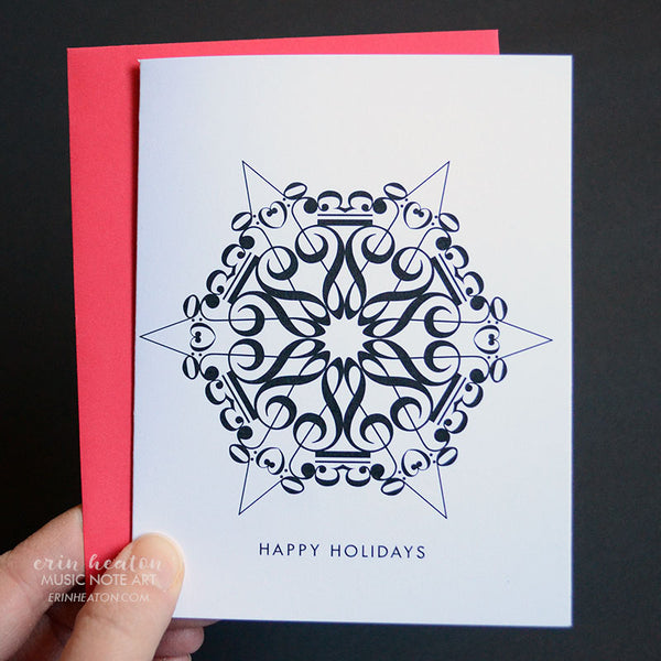 Snowflake #5 Music Note Christmas Card | erinheaton.com