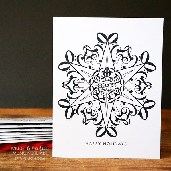 Snowflake #4 Music Note Christmas Card | erinheaton.com