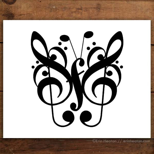 Butterfly Music Note Art Print Set