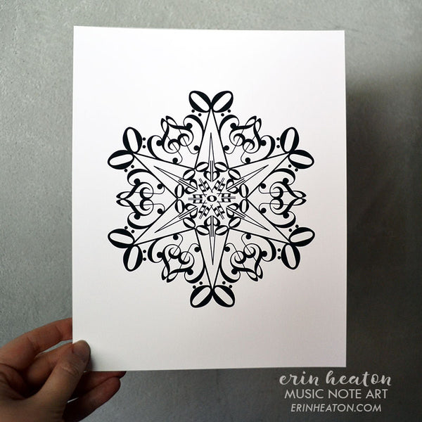 Snowflake #4 Music Note Holiday Art Print | erinheaton.com