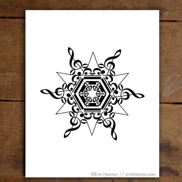 Snowflake Music Note Art Print