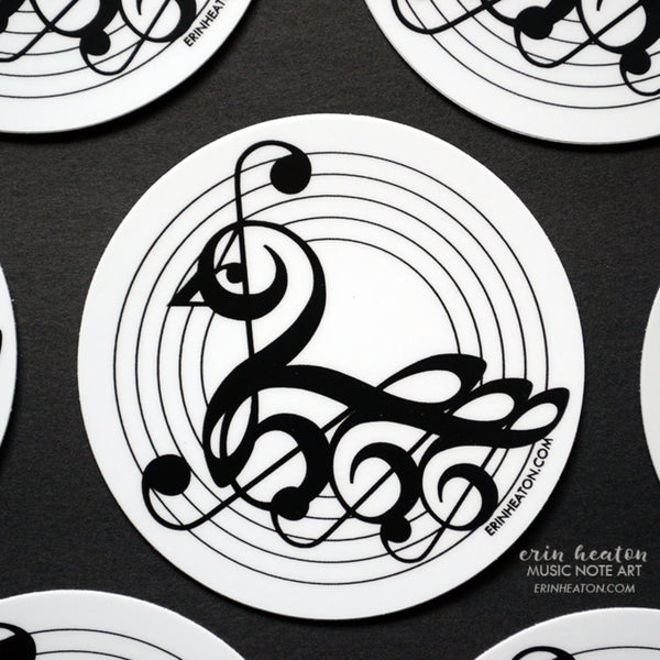 Treble Clef Swan Stickers - Pack of 3