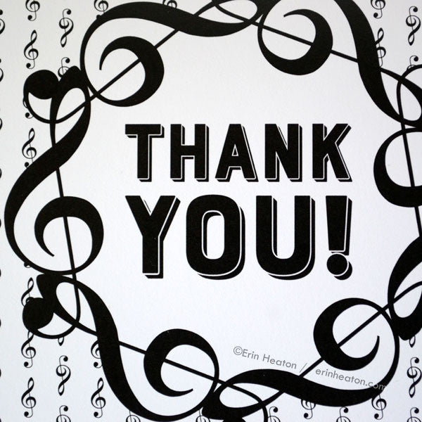 Treble Clef Thank You Card