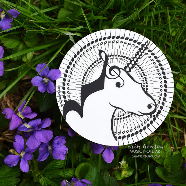 Music Note Unicorn Stickers | erinheaton.com