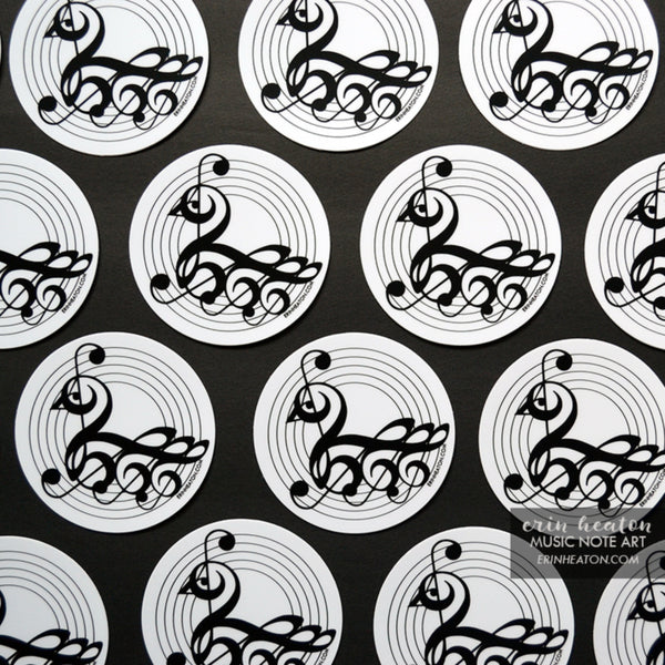Treble Clef Swan Stickers - Classroom Pack