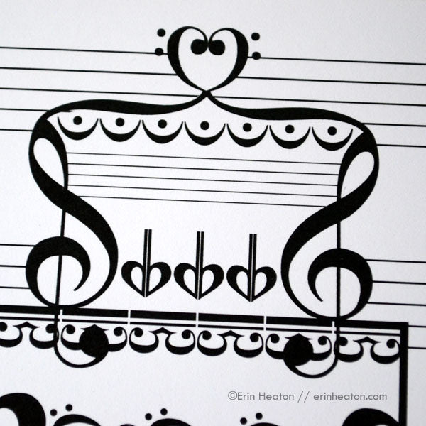 Music Note Wedding Cake Thank You Card