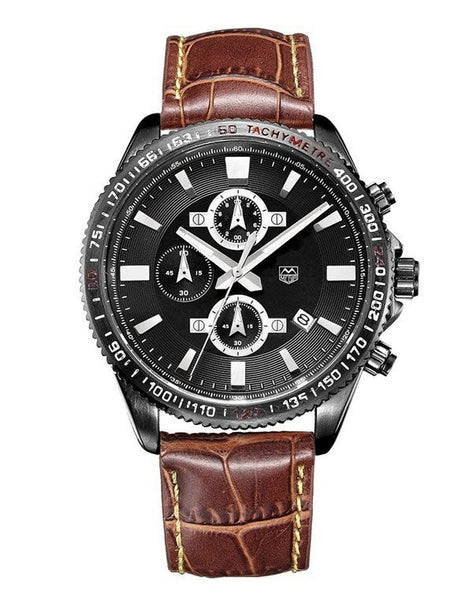 """Heritage"" Chronograph Leather Strap Watch, 45mm"