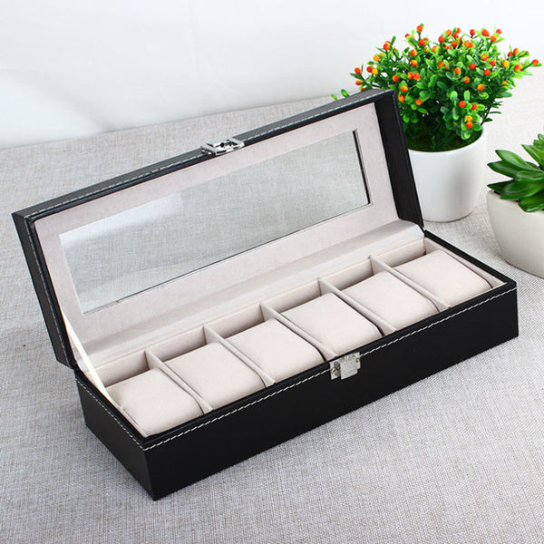 Black Leather 6 Grid Cover Box