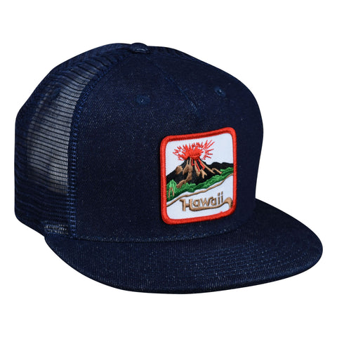 Hawaii Volcano Trucker Hat by LET'S BE IRIE - Blue Denim Snapback - Let's Be Irie™