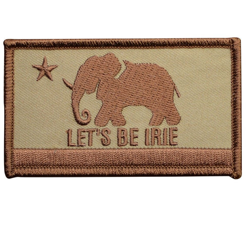LET'S BE IRIE Elephant Patch - Irie California Flag, Desert Camo (Iron on) - Let's Be Irie™