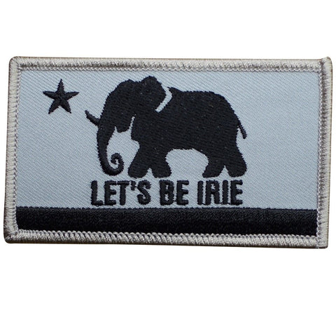 LET'S BE IRIE Elephant Patch - Irie California Flag, Grey and Black (Iron on) - Let's Be Irie™
