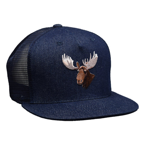 Moose Head Trucker Hat by LET'S BE IRIE - Blue Denim Snapback - Let's Be Irie™