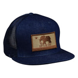 LET'S BE IRIE Trucker Hat - California Irie Flag, Navy Blue Denim - Let's Be Irie™
