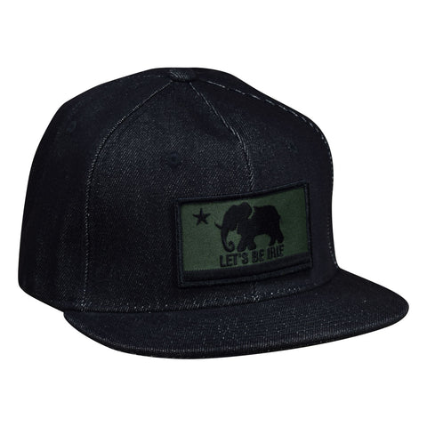 LET'S BE IRIE Denim Snapback - California Irie Flag, Black and Green - Let's Be Irie™