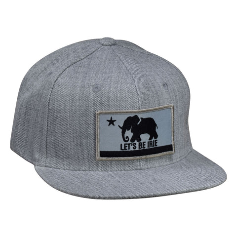 LET'S BE IRIE Snapback Hat - California Irie Flag, Heather Gray - Let's Be Irie™
