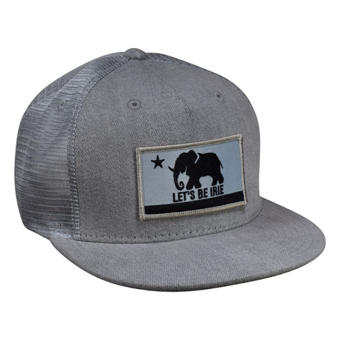 LET'S BE IRIE Trucker Hat - California Irie Flag, Gray Denim Snapback - Let's Be Irie™