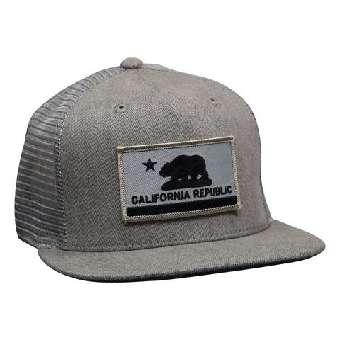California Republic Flag Trucker Hat by LET'S BE IRIE - Gray Denim - Let's Be Irie™