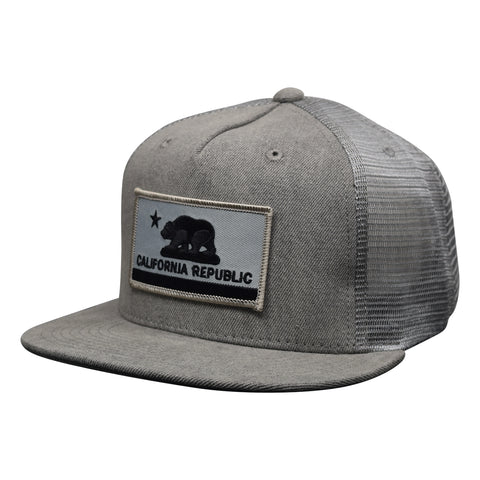 74a74a36d3671 California Republic Flag Trucker Hat by LET S BE IRIE - Gray Denim - Let s  Be Irie