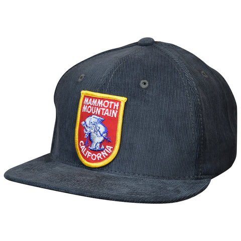 Mammoth Mountain Hat by LET'S BE IRIE - California, Vintage Patch, Gray Corduroy Snapback