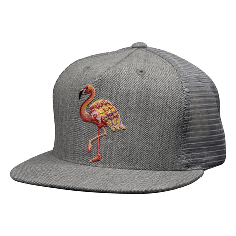 Pink Flamingo Trucker Hat by LET'S BE IRIE - Heather Gray Snapback - Let's Be Irie™