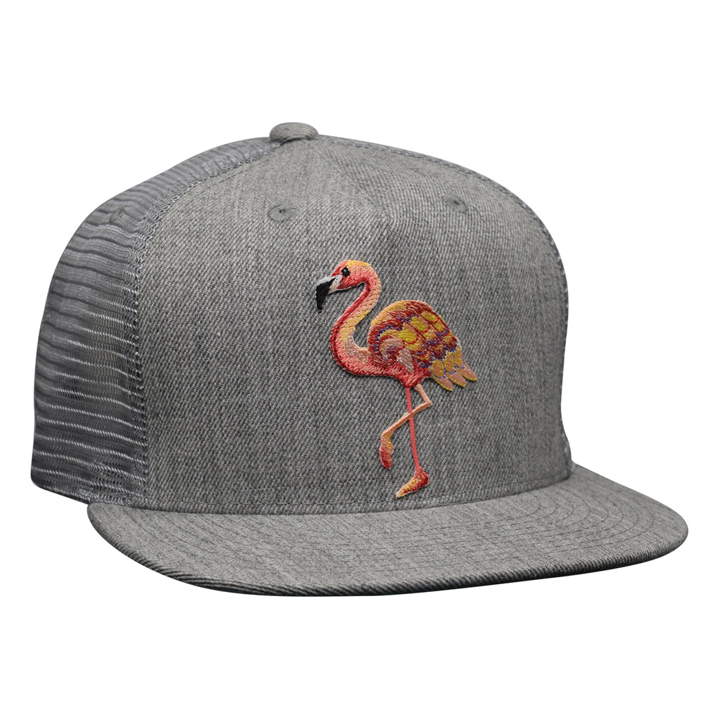Pink Flamingo Trucker Hat by LET'S BE IRIE Heather Gray