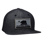 California Republic Snapback - Washed Black Denim Hat by LET'S BE IRIE - Let's Be Irie™