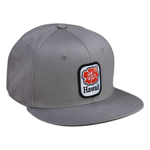 Hawaii Hibiscus Hat by LET'S BE IRIE - Gray Cotton Snapback - Let's Be Irie™