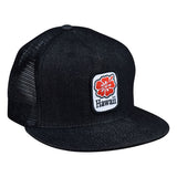 Hawaii Hibiscus Trucker Hat by LET'S BE IRIE - Black Denim Snapback - Let's Be Irie™