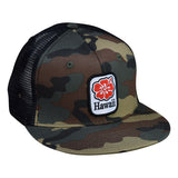 Hawaii Hibiscus Trucker Hat by LET'S BE IRIE - Camo and Black Snapback - Let's Be Irie™