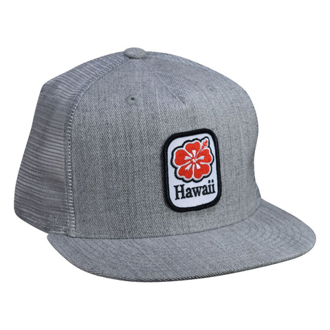 Hawaii Hibiscus Trucker Hat by LET'S BE IRIE - Heather Gray Snapback - Let's Be Irie™