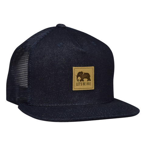 LET'S BE IRIE Elephant Trucker Hat - Blue Denim Snapback - Let's Be Irie™