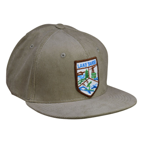 Lake Tahoe Corduroy Hat by LET'S BE IRIE - Khaki Cotton Snapback, Vintage Patch - Let's Be Irie™