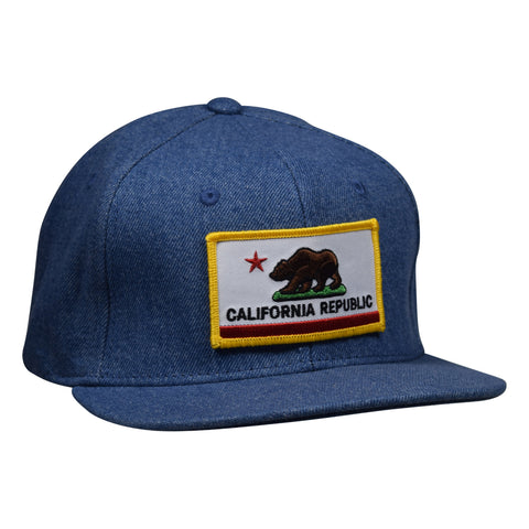 California Republic Snapback - Light Blue Denim Hat by LET'S BE IRIE - Let's Be Irie™