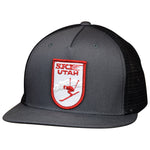 Ski Utah Hat by LET'S BE IRIE - Vintage Patch, Gray/Black Trucker, Snapback