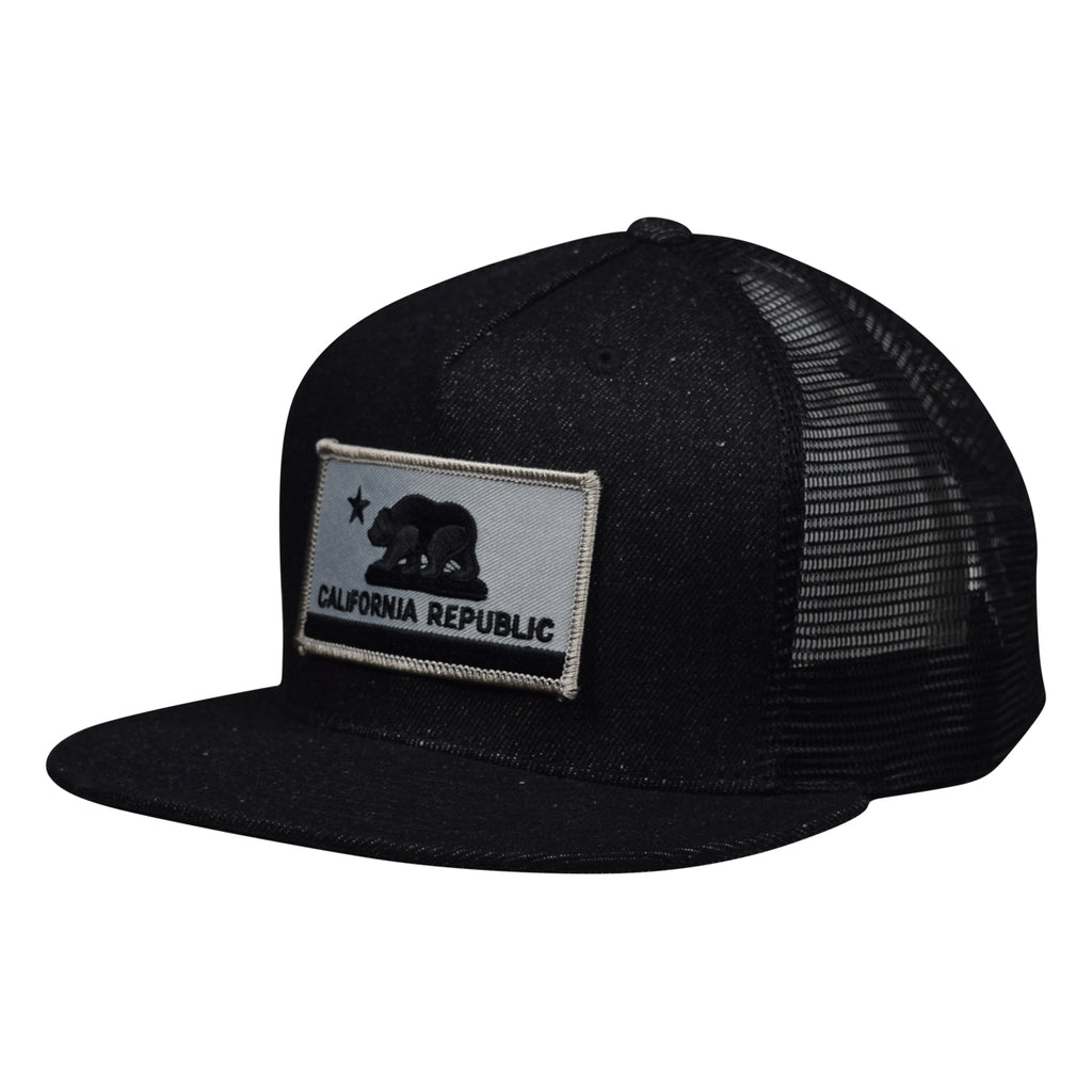 c760483e2047f California Republic Trucker Hat - Black Denim Hat with Gray Flag by LET S  BE IRIE -