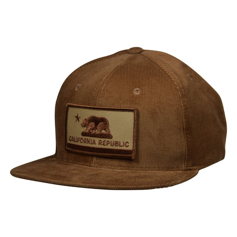 California Republic Hat by LET'S BE IRIE - Brown Corduroy Snapback