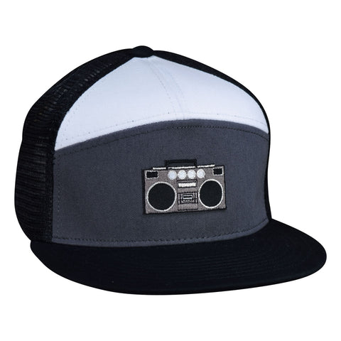 Boombox Trucker Hat - Black, Grey, and White Snapback - Let's Be Irie™
