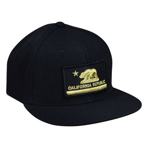 California Republic Snapback Hat by LET'S BE IRIE - Black and Gold - Let's Be Irie™