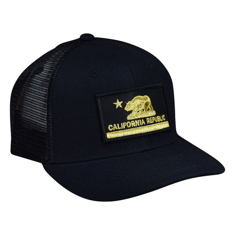 California Republic Trucker Hat by LET'S BE IRIE - Black and Gold, Curved Bill - Let's Be Irie™